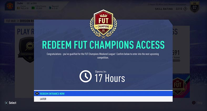 FIFA 19 FUT Division Rivals Weekend League
